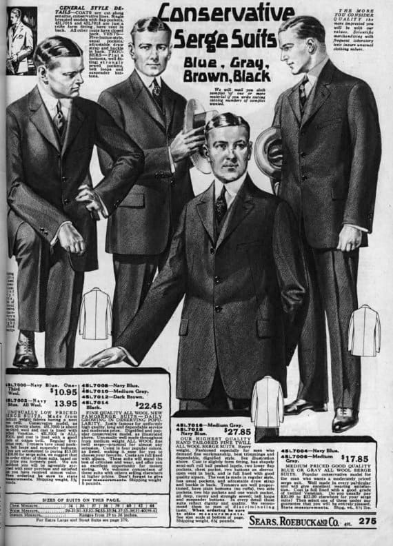 Conservative Serge Suits 1920s Mens Fashion Catalog