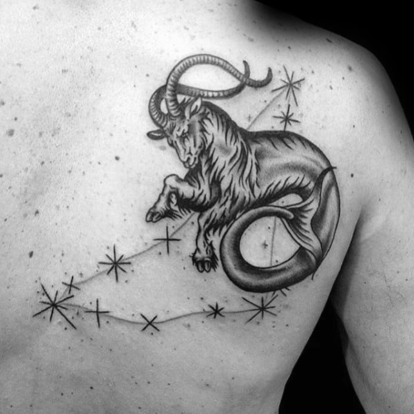 Constellation Zodiac Mens Capricorn Goat With Stars Back Tattoo