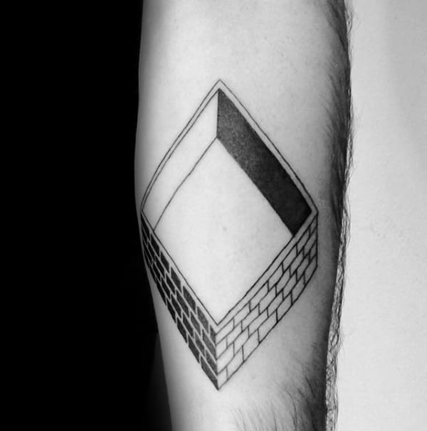 Construction Square Brick Walls Building Mens Forearm Small Tattoos
