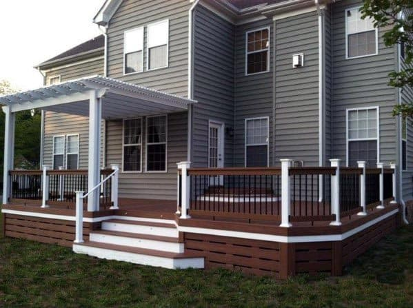 Contekporary Wood With Open Slots Cool Deck Skirting