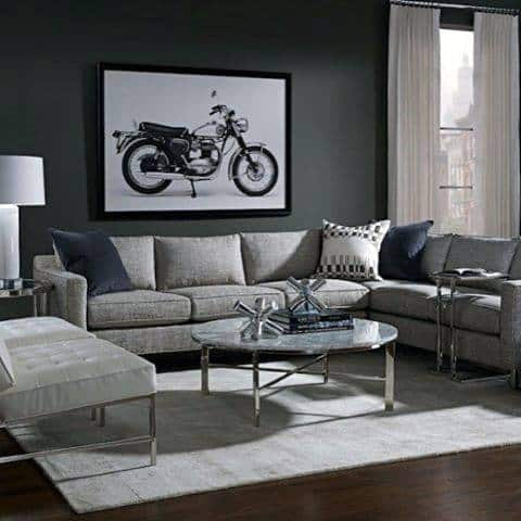 Charmant Contemporary Bachelor Pad Furniture Grey Sofa