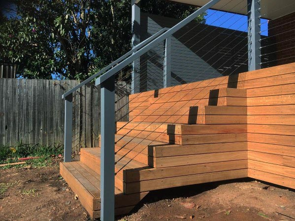 Contemporary Backyard Designs Deck Steps