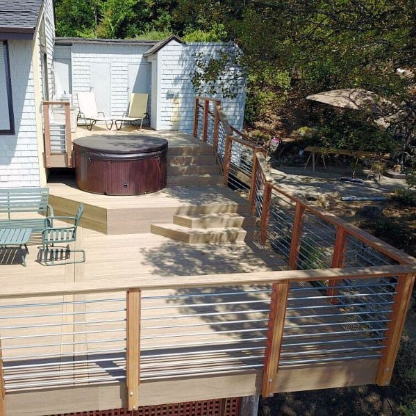 Contemporary Backyard Designs Hot Tub Deck