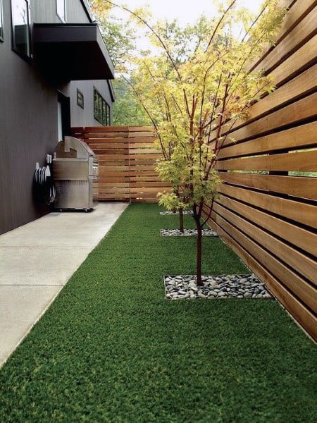 Contemporary Backyard Wood Fence