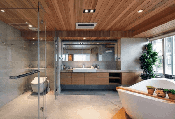 Contemporary Bathroom Wood Ceiling Ideas