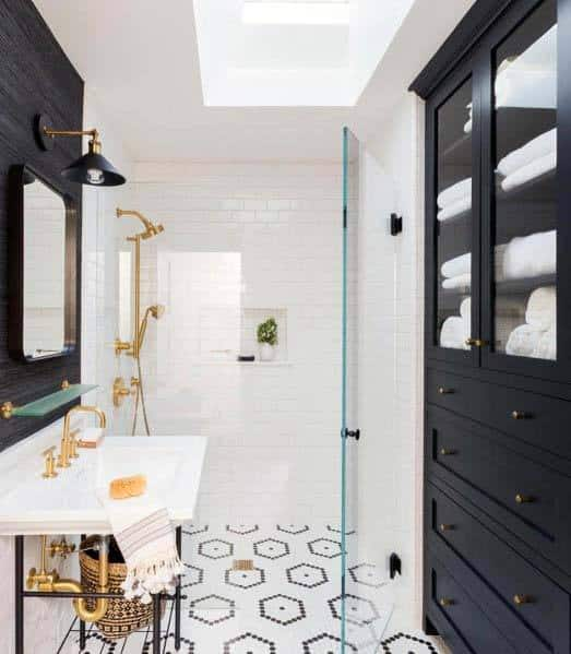 Contemporary Black And White Bathroom Tile