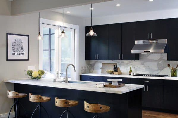 Contemporary Black Kitchen Cabinet Home Designs