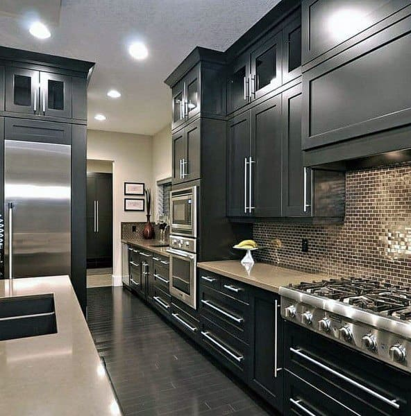 Contemporary Black Kitchen Cabinet Ideas With Stainless Steel Bar Pull Handles