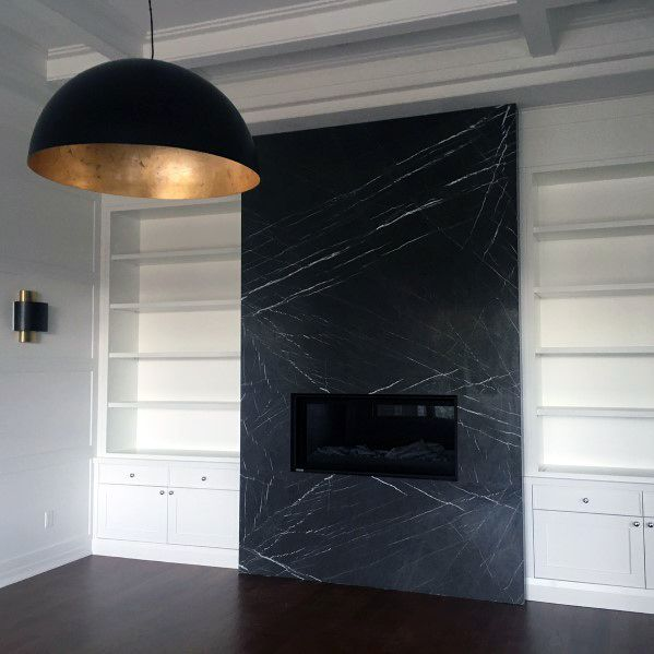 Contemporary Black Marble Large Format Fireplace Tile Design Ideas