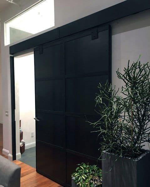 Contemporary Black Steel Exceptional Barn Door Ideas