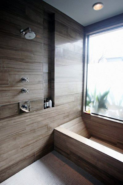 Contemporary Brown Tan Tiles Shower Niche Ideas Inspiration