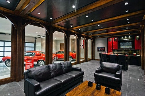 Contemporary Car Collection Garage Bar Ideas