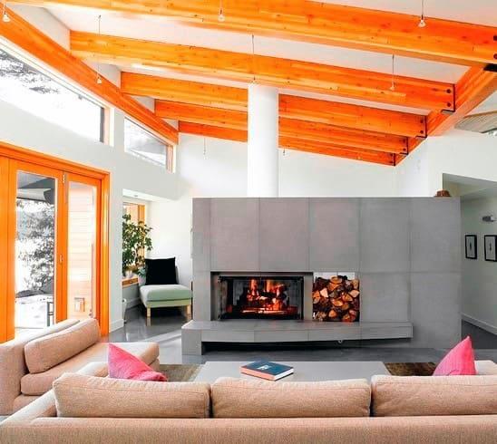 Contemporary Concrete Fireplace Design