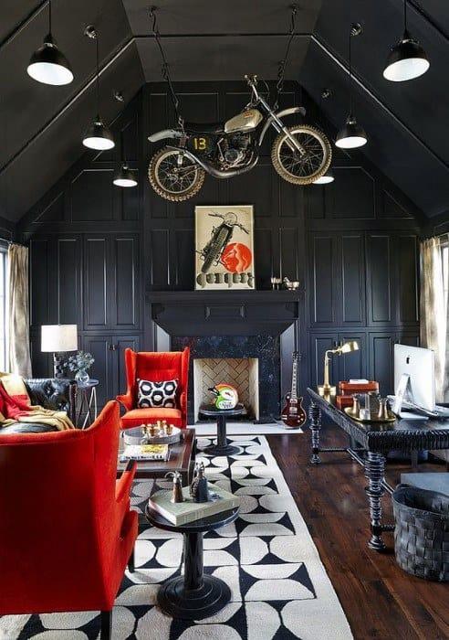 Zeitgenössische coole Mann-Höhlen-Ideen mit Büro-Schreibtisch