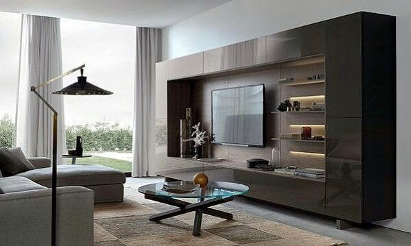 Contemporary Cool Television Wall Design Ideas With Glossy Cabinet Doors And Shelves