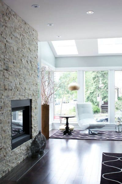 Contemporary Designs Stacked Stone Fireplace