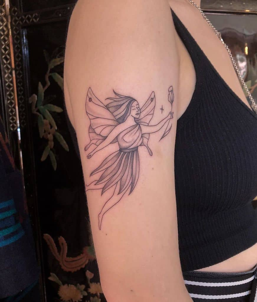 Contemporary Fine Line Art Fairy Tattoo