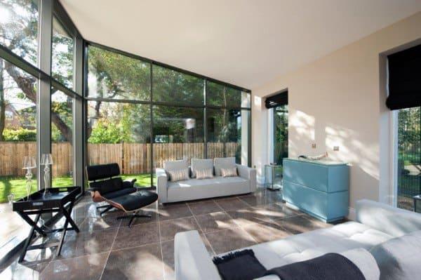 Contemporary Floor To Ceiling Glass Windows Sunroom Ideas