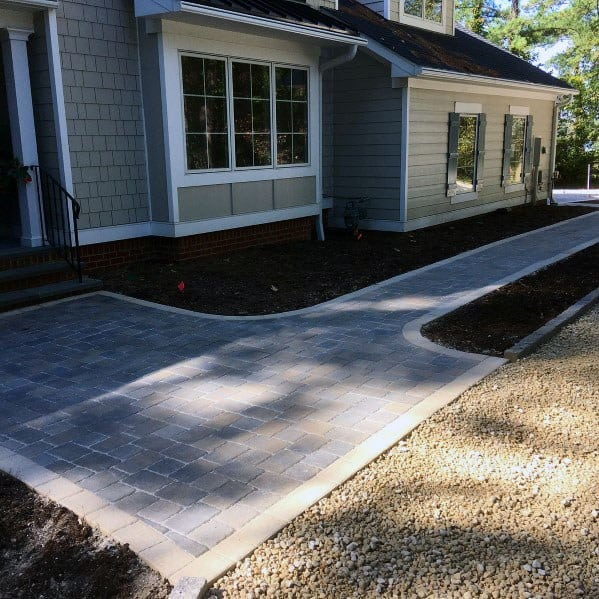 Contemporary Front Yard Ideas For Home Paver Walkway