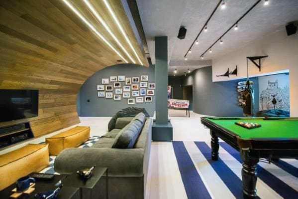 Contemporary Game Room Basement Man Cave Ideas