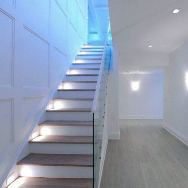 Contemporary Glass Railing Home Basement Stairs Ideas With Step Lights