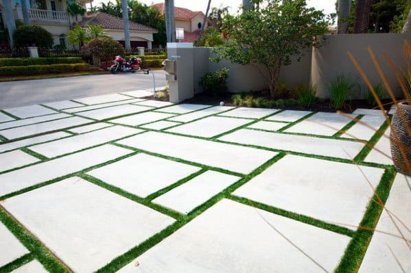 Contemporary Grass Gaps Cool Concrete Driveway