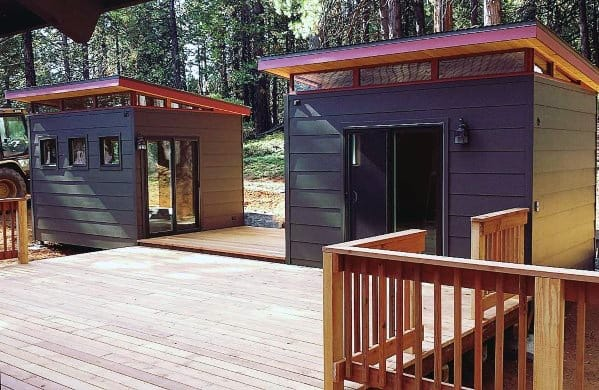 Contemporary Grey Backyard Shed Design Idea Inspiration