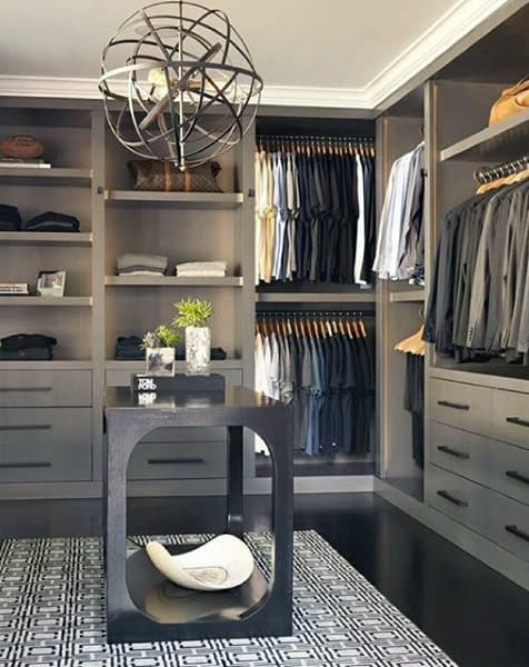 Contemporary Grey Cabinet Organized Closet For Guys
