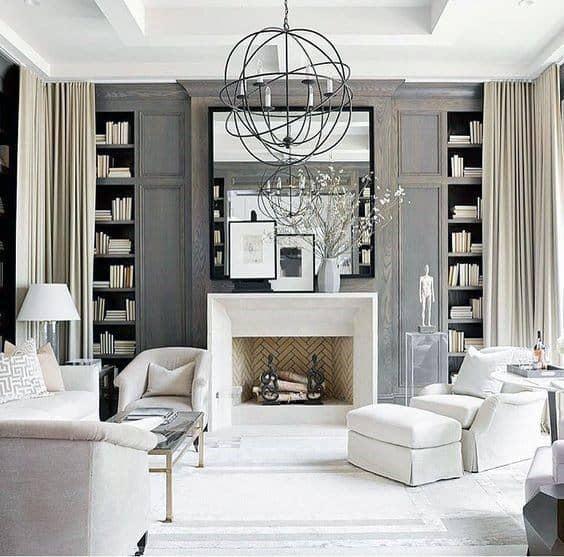 Contemporary Grey Living Room Floor To Ceiling Bookshelves Design Inspiration