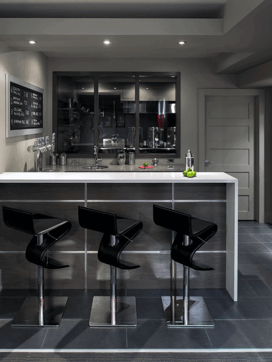 Contemporary Home Basement Bar Design With Grey Paint Walls