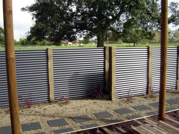 Contemporary Home Design Ideas Corrugated Steel Privacy Fence