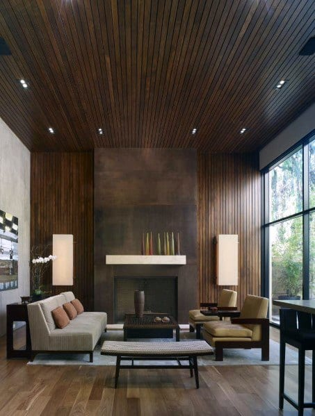 Contemporary Home Design Ideas Dark Stained Wood Wall