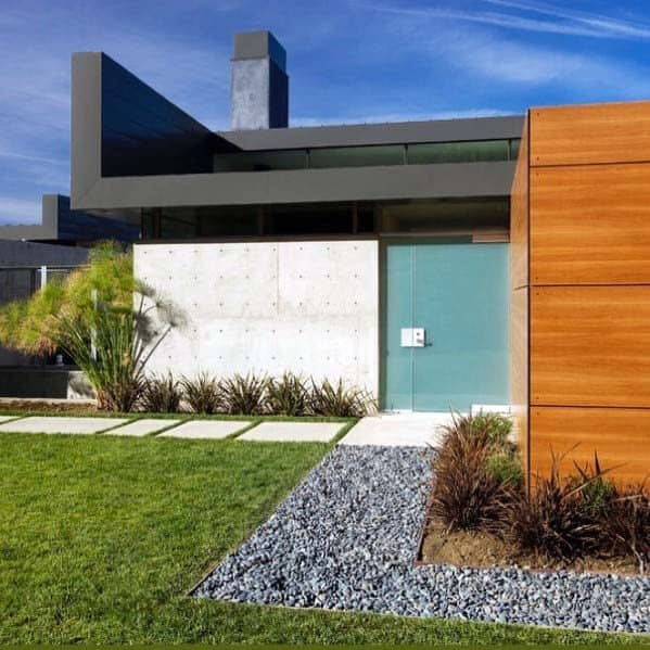 Contemporary Home Exterior Designs River Rock Landscaping
