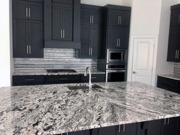 Contemporary Home Kitchen Designs Metal Backsplash