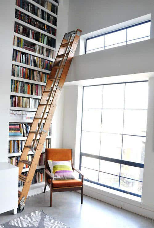 Contemporary Home Library Bookcases With White Wall Paint