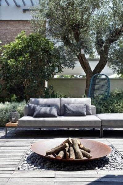 Contemporary Home Outdoor Designs Patio Mild Steel Firepit
