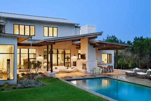 Contemporary House Backyard Pool Patio With Roof