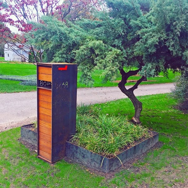 Contemporary Ideas Steel And Wood Mailbox Landscaping