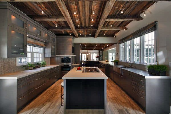 Contemporary Kitchen Rustic Ceiling Design Idea Inspiration