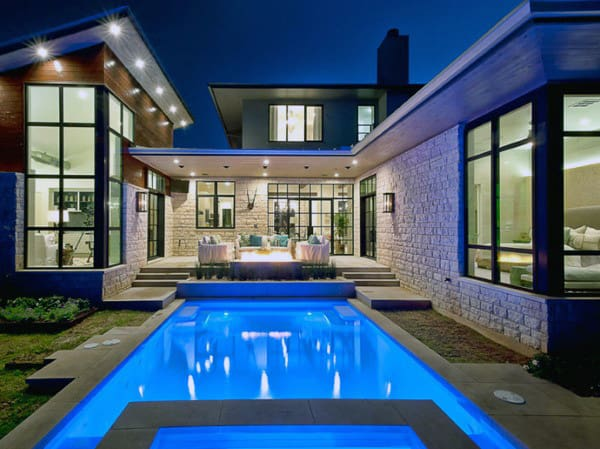 Contemporary Lap Home Swimming Pool Designs