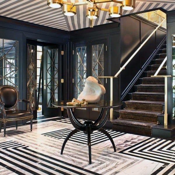 Contemporary Lines Entryway Tile Cool Interior Ideas