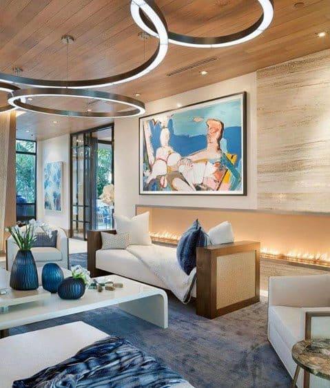Contemporary Living Room Gas Linear Fireplace Interior Ideas