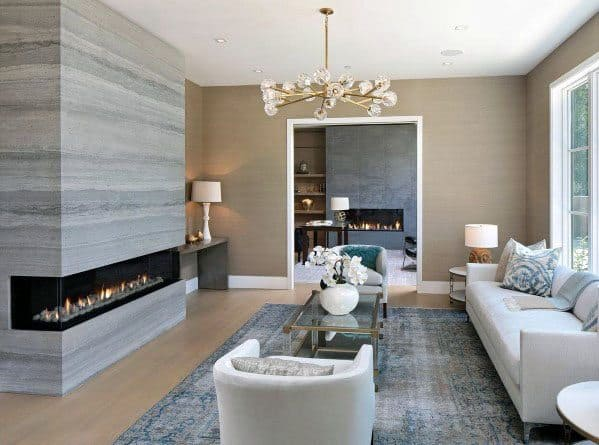 Contemporary Living Room Linear Fireplace Ideas