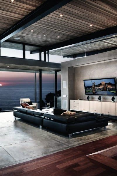 Contemporary Living Rooms Interior Designs Tv Walls Concrete Finish