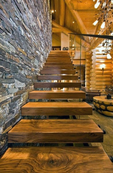 Contemporary Log Cabin House Wood Stairs Ideas