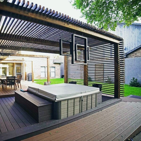 Contemporary Metal Deck Roof Backyard Design