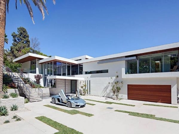 Superb Contemporary Modern Home Concrete Driveway Design Ideas