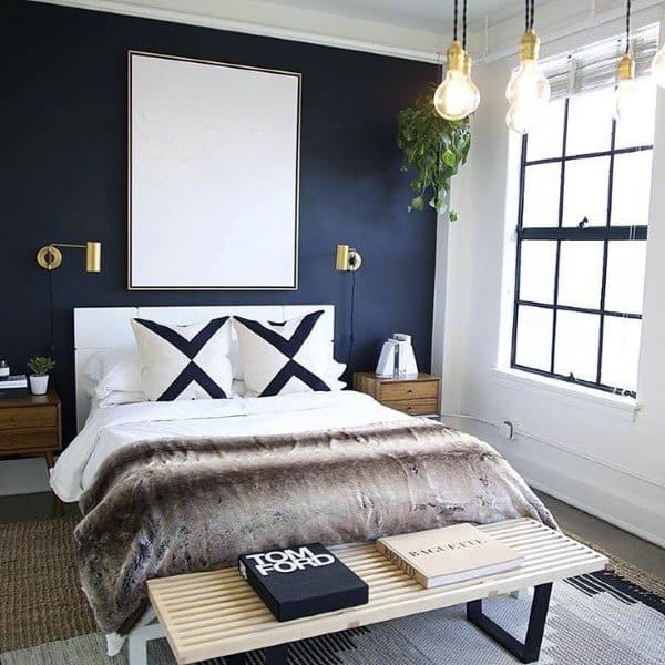 Contemporary Navy Blue Bedroom Design