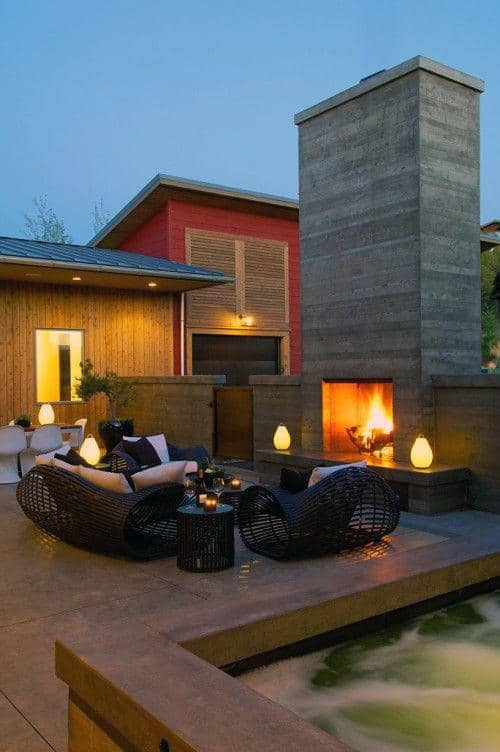 Contemporary Outside Fireplace Design With Grey Stone