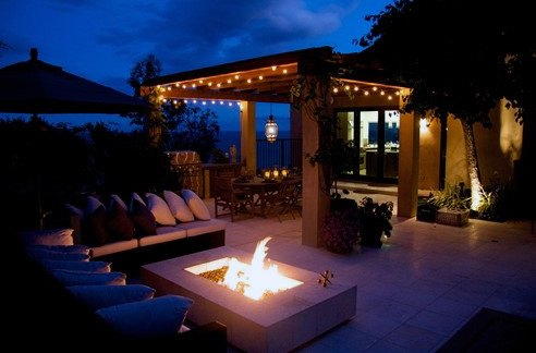 Contemporary Patio String Light Cool Backyard Ideas